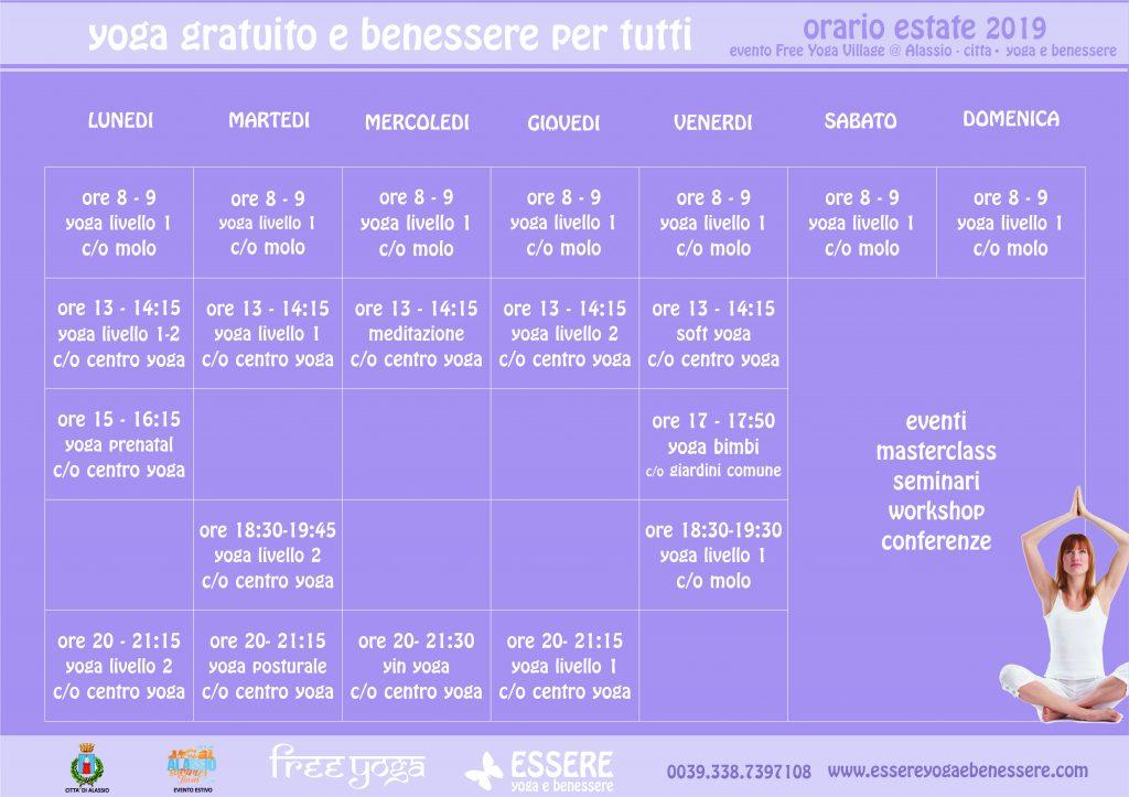 orario - essere - free - yoga - gratuito - benessere - per tutti - village - citta - alassio - estate - lucia ragazzi - summer - town - wellness - regaliamo -